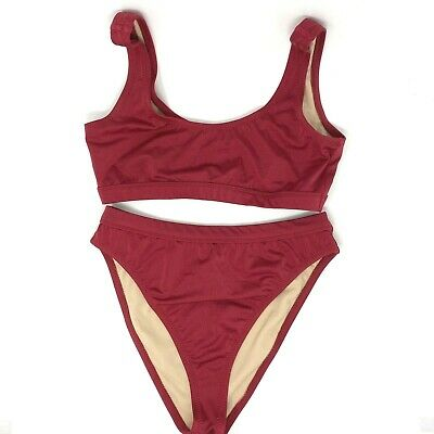 Dixperfect Two Piece Bikini Set Swimsuit Sports Style Size L Large Red (Sport Two Piece Swimsuit)