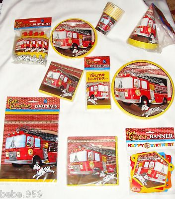 FIREMEN  /FIRE ENGINE  RESCUE HEROES PAPER  SET/8 GUESTS  MULTI-COLOR  PARTY  - Fire Engine Party