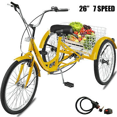 "Adult Tricycle 26"" 7-Speed 3-Wheel Shimano Trike Bicycle Bik"
