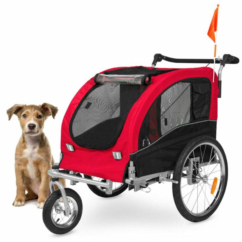 2 in 1 Pet Carrier Dog Bike Trailer Bicycle Stroller Jogging Dog Carrier New US