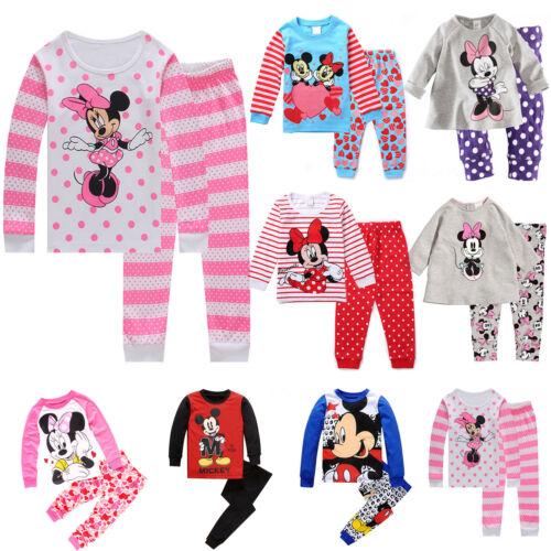 Kinder Baby Mädchen Jungen Winter Minnie Mickey Top Hose Set Nachtwäsche Pyjamas