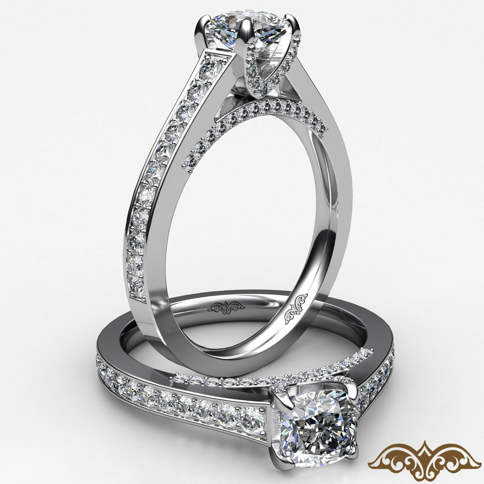 1.25ctw Pave Set Bridge Style Cushion Diamond Engagement Ring GIA J-SI1 W Gold