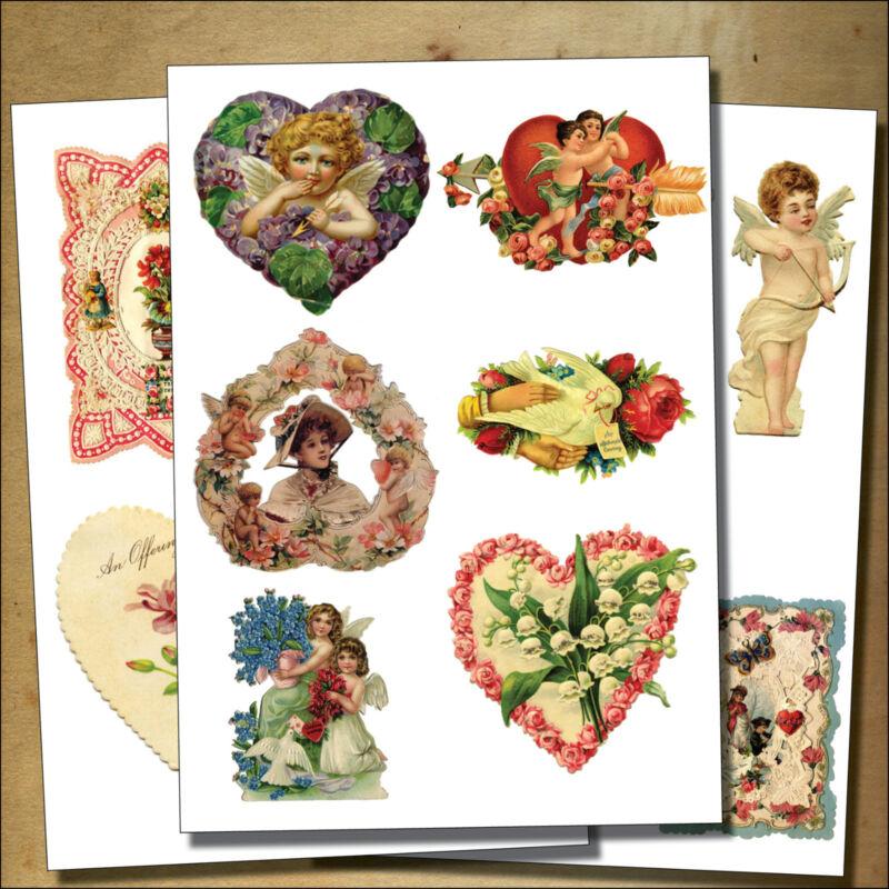 Vintage Victorian Valentines Decoupage / cherubs /sticker- decoupage decal No.3