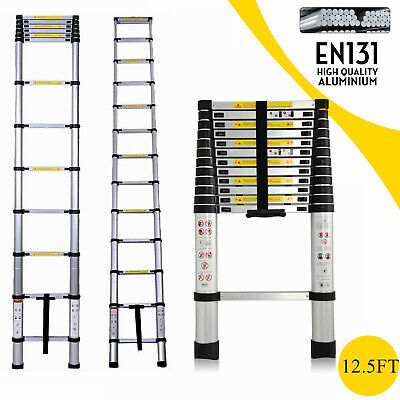 3.8M Portable Heavy Duty Multi-Purpose Aluminium Telescopic Ladder Extendable UK