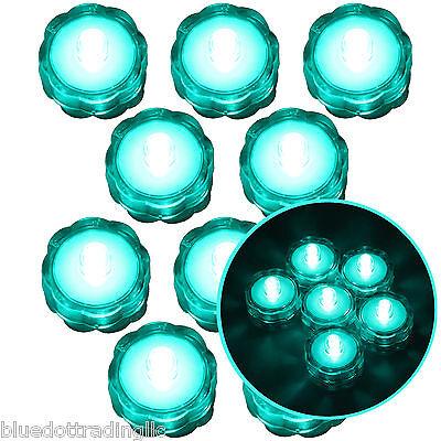 Submersible Waterproof Battery LED Tea Light Wedding Decoration Turquoise 10 Pcs
