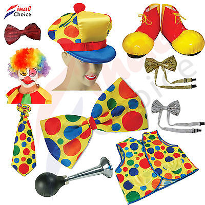 Adult Clown Costume Accessory Clown & Circus Fancy Dress Party Shoe Tie Wig