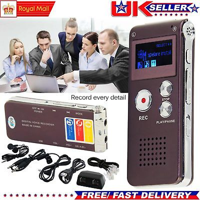 8GB Rechargeable DIGITAL Sound Voice Recorder Dictaphone MP3 Player Record Steel