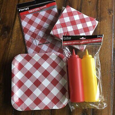 Picnic Party Kit Red White Gingham Plates Napkins Tablecloth Ketchup Mustard NIP ()