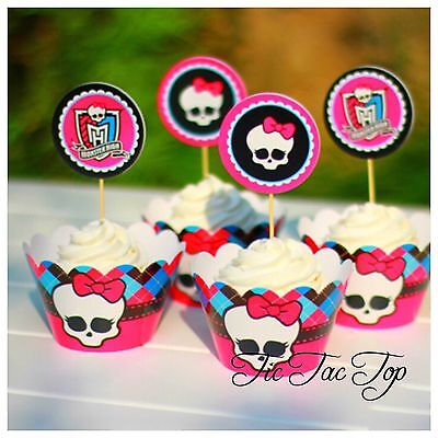12x Monster High Cupcake Toppers + Wrappers. Jelly Party Supplies Lolly Loot Bag ()