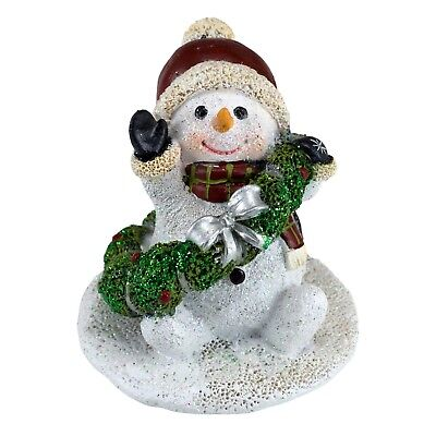 Mini Snowman In Santa Hat With Christmas Wreath Figurine Sparkly 2.5