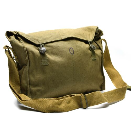 Genuine Czech army haversack canvas khaki pack military side shoulder bread bag