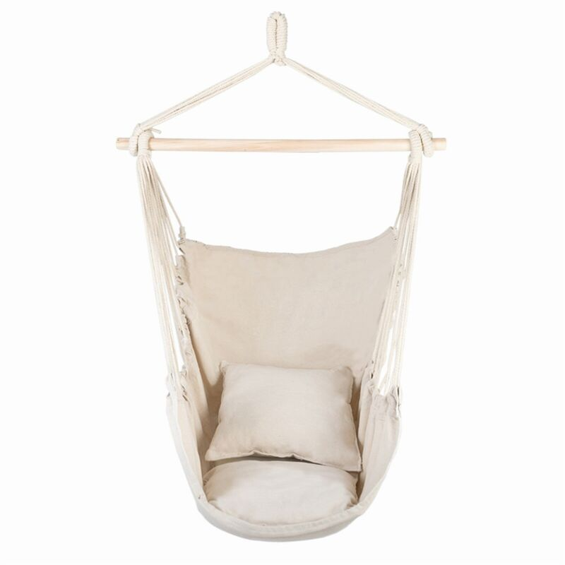 Hammock Chair Distinctive Cotton Canvas Hanging Rope Chair with Pillows Beige
