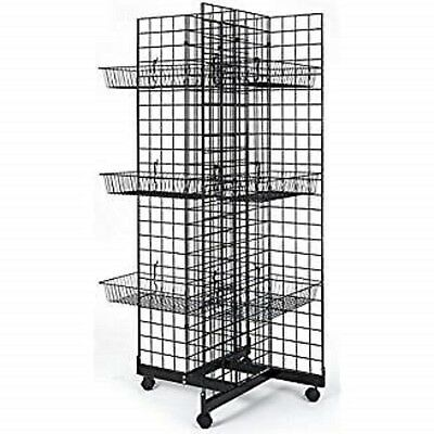 Only Hangers 4 Way Gridwall Display W Casters 12 Baskets- Black