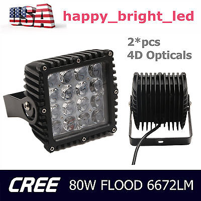 2x 5''INCH 80W CREE LED Work Light Bar 4D Opticals Flood Lamp Offroad Truck QQ