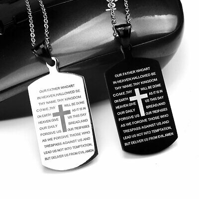 Mens Stainless Steel Cross Crucifix Bible Text Prayer Tag Pendant Necklace Chain Fashion Jewelry