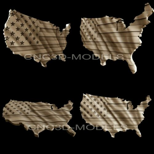 """3D STL Models for CNC Artcam Aspire""""USA Flag""""United States of America Flag.AF1"""