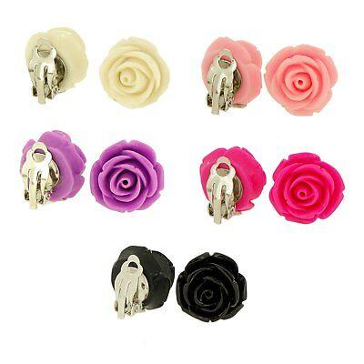 Color Rose Flower Clip-on Clip On Earrings for Kids Teen Gir