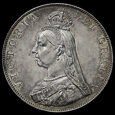 1887 Queen Victoria Jubilee Head Silver Double Florin, Roman One, G/EF