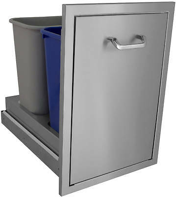 "18""x 26""Slide Out Trash Can, Built-In Trash Can, Outdoor Kitchen BBQ Island USA"