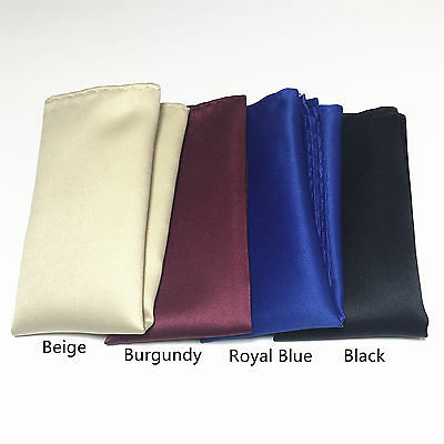 4 colors Hankerchief Pocket Square Hanky Beige, Burgundy, Royal Blue & Black