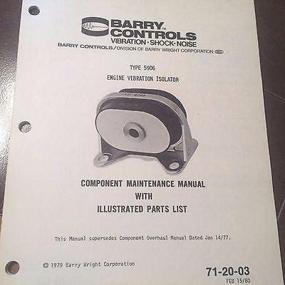 Barry 5906 Engine Vibration Isolator Service & Parts Manual