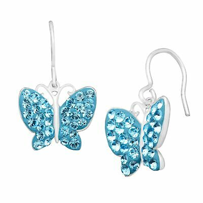 Butterfly Earrings with Blue Swarovski Crystals in Sterling Silver