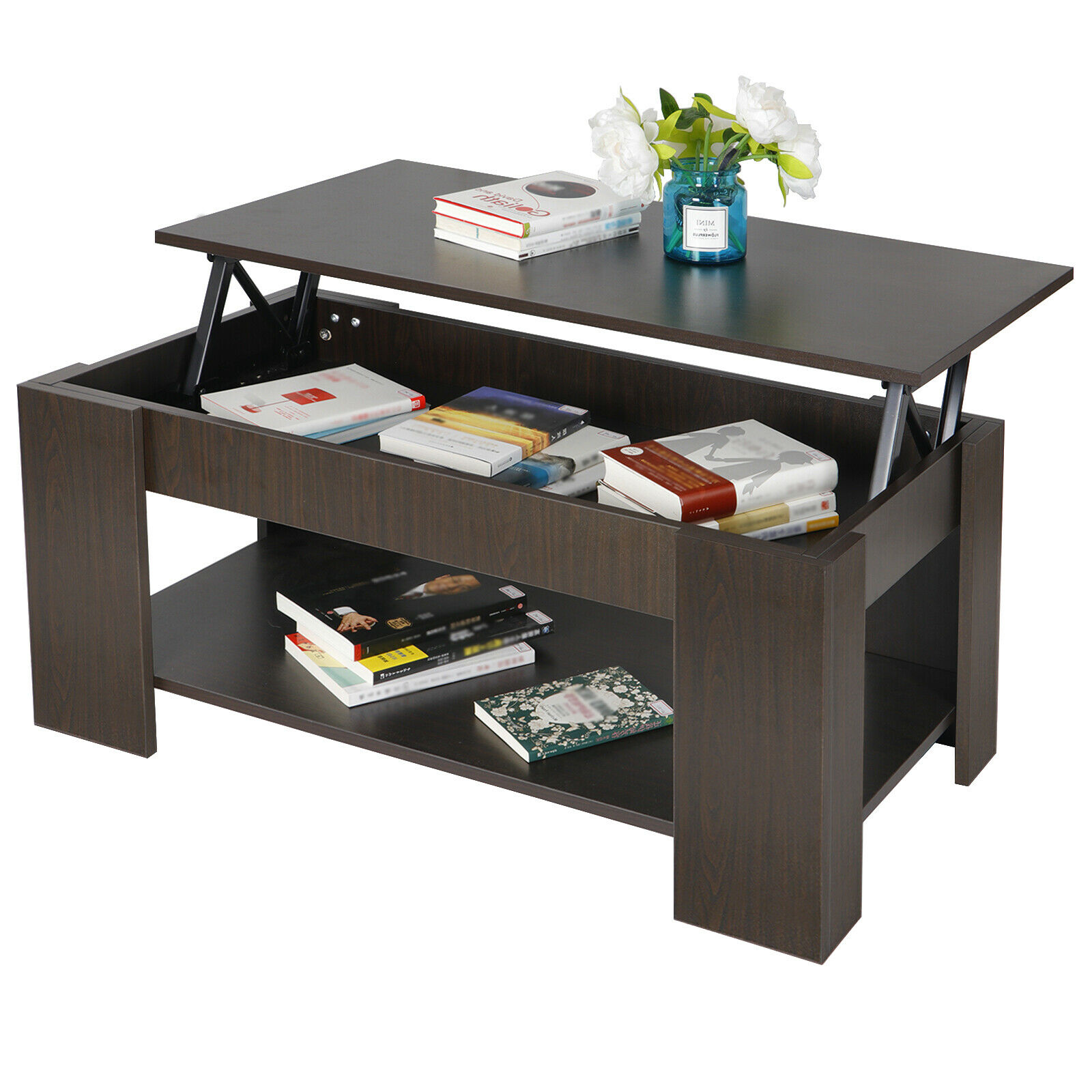 Lift Top Coffee Table w Hidden Compartment Storage Shelf Living Room Furniture Furniture