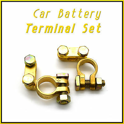 2 x 12V Car Battery Terminals Clamps Connectors Heavy Duty Brass Bolts     HQ