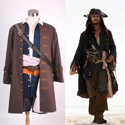 Pirates of the Caribbean Captain Jack Sparrow Cosplay Kostüm per DHL (Captain Jack Sparrow Cosplay Kostüm)