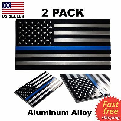 (2 Pack) ALUMINUM Police Officer Thin Blue Line American Flag decal stickers USA