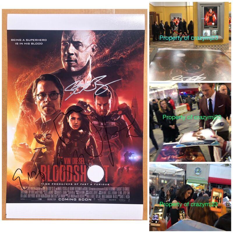 5 Signed Bloodshot Poster Vin Diesel Eiza Gonzalez Sam Heughan Autograph Proof