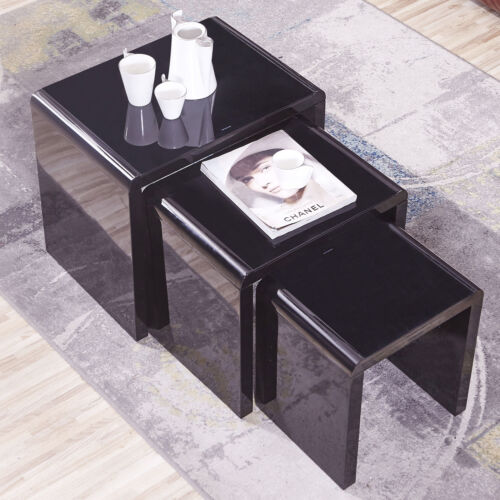 Nest of 3 High Gloss Black Modern Coffee Table Side Table wi