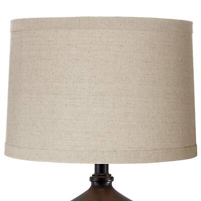"Natural Linen Medium Drum Lamp Shade 15"" Top x 16"" Bottom x 11"" High (Spider)"