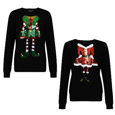 Womens Sequin Novelty Mrs Claus And Miss Elf Christmas Pullover Jumpers Sweater