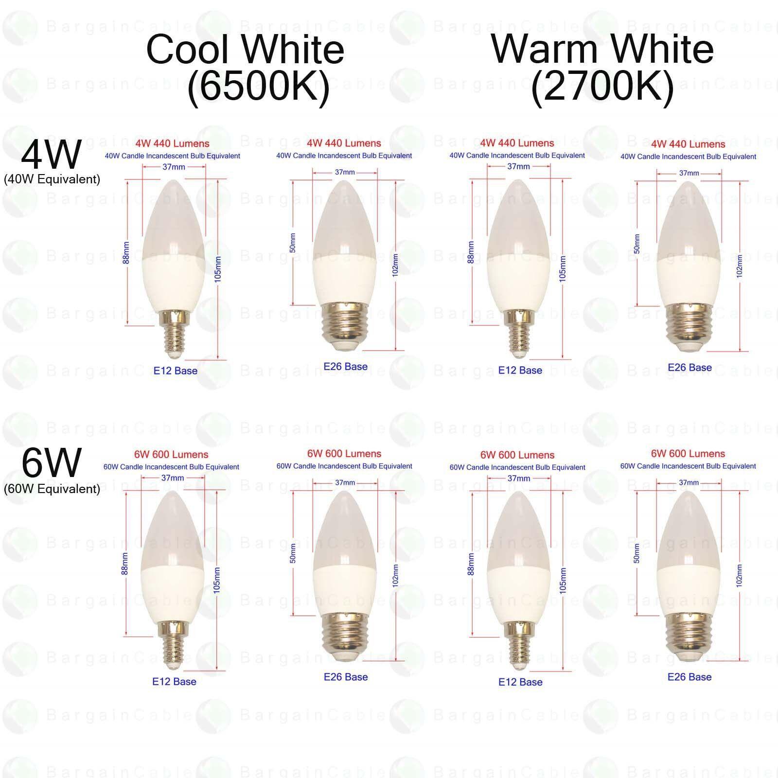 E12 E26 LED Candelabra 40W 60W Equivalent 120V Warm/Cool Cha