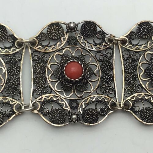 Estate Antique Chinese Silver Filigree Coral Bracelet