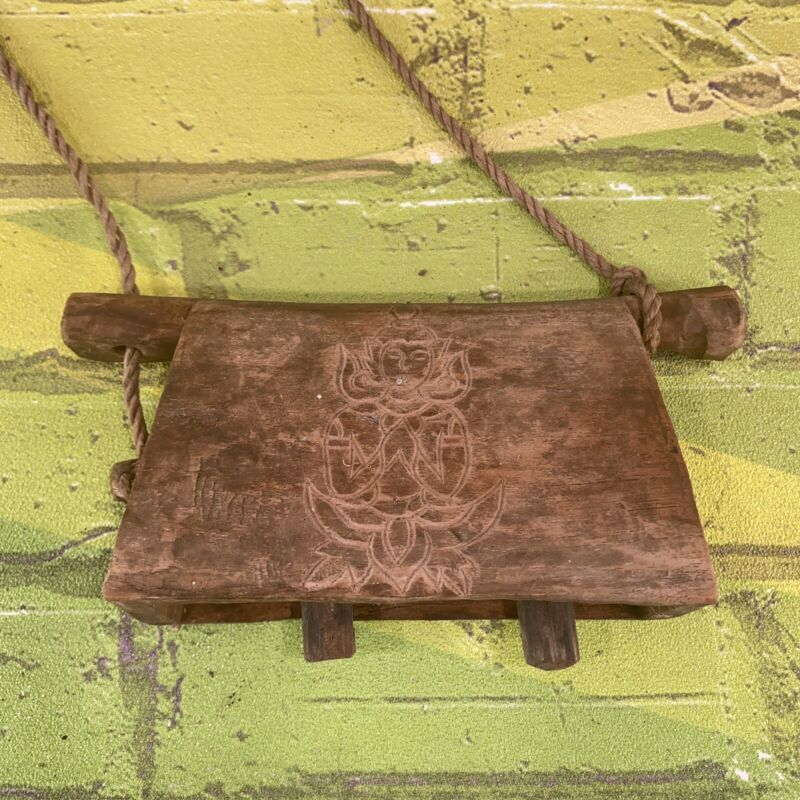 Vintage Wood Cow Bell Hand Carved Wooden Thai