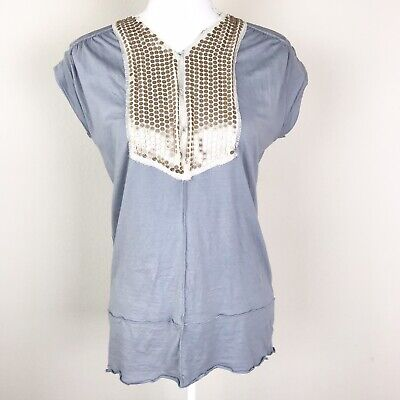 Anthropologie Tiny Bib Top T Shirt Tee Small Gray Sequined Short Sleeve Casual