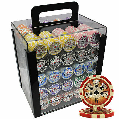 1000 14G HIGH ROLLER CLAY POKER CHIPS SET ACRYLIC CASE