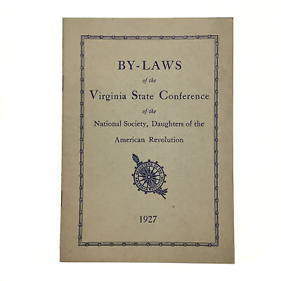 1927 By Laws Virginia State Conference Daughters of the American Revolution DAR