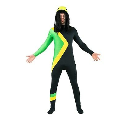 Adult Cool Rasta Jamaican Bobsleigh Bobsled Team Costume Outfit Suit Halloween - Cool Halloween Suits
