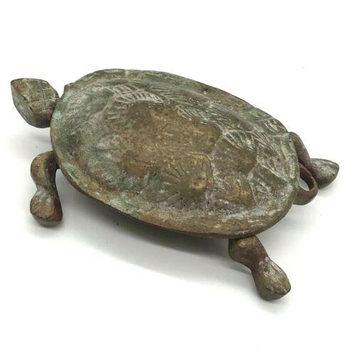 Vintage Brass Turtle Trinket Box Shell - Nicely Patinated - Hinge - Slider