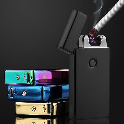 USB Dual Arc Plasma Lighter Aufladbar Feuerzeug Flammenlos Elektro Lichtbogen