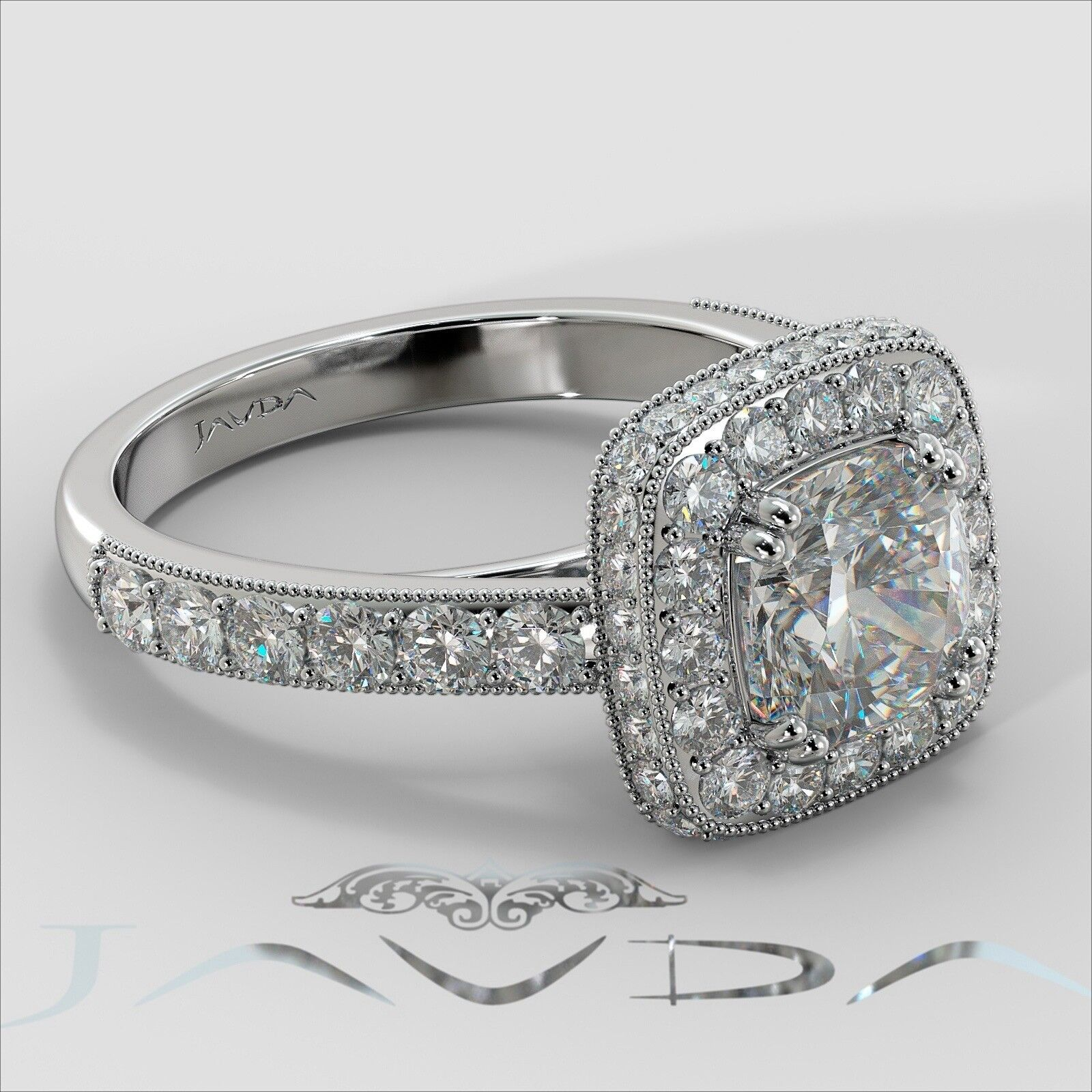 2.12ctw Milgrain Floral Basket Cushion Diamond Engagement Ring GIA I-SI2 W Gold 2