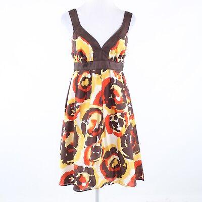 Brown orange floral print cotton blend BANANA REPUBLIC sleeveless sun dress 6 Floral Print Cotton Sundress