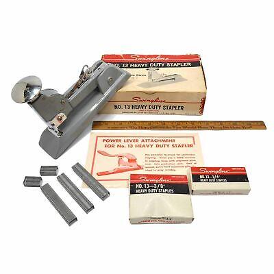 Vintage Swingline No. 13 Heavy Duty Stapler Gray Complete In Box Staples