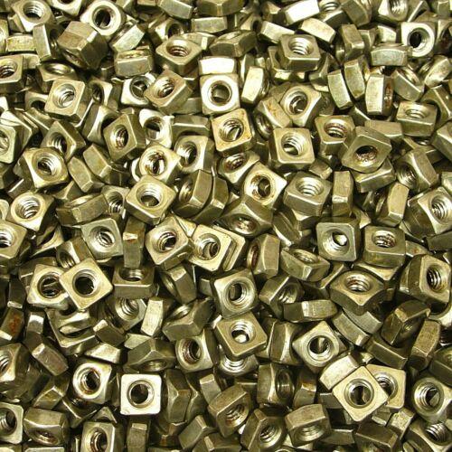 "(1,000) 1/4""-20 Regular Square Nut Coarse Thread Unplated Plain Finish Steel"