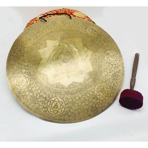 18 inches Diameter Healing yogi etched Tibetan Gong-Temple gong-Best work of art