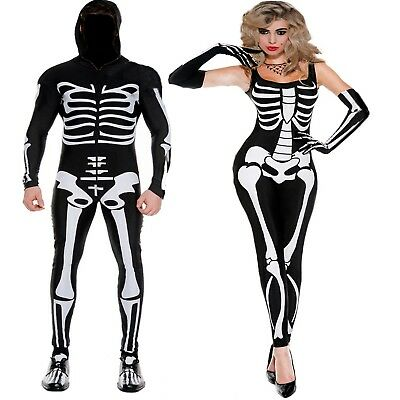 Mens and Womens Halloween Scary Skeleton Print Spooky Fancy Dress Costume ()