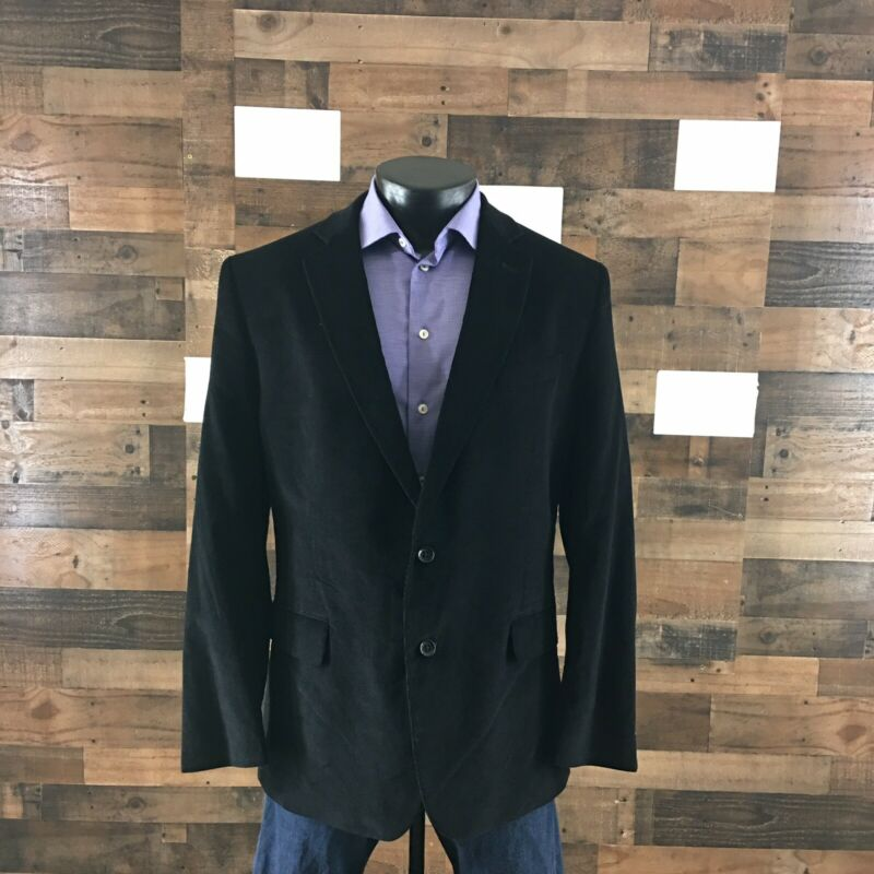 Stafford Signature Sport Coat Blazer Jacket Corduroy Classic Fit Black 46R Men's